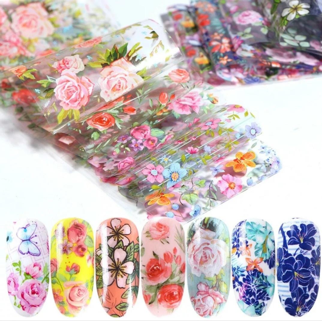 Flower Foil Nail Art